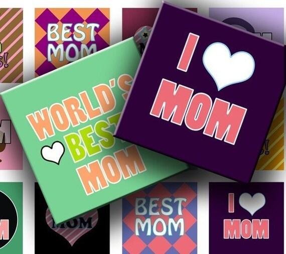 Instant Download Digital Collage Sheet - I Love Mom 1 inch squares for your Artwork - DigitalPerfection digital collage sheet 714