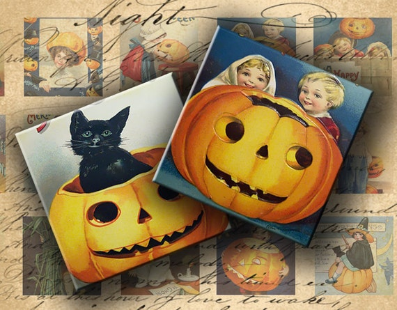 INSTANT DOWNLOAD Digital Collage Sheet - Halloween 1 inch squares for your Artwork - DigitalPerfection digital collage sheet 017