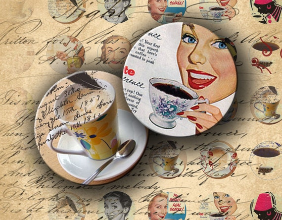Instant Download Digital Collage Sheet My Love For Coffee 1 inch Circles - DigitalPerfection digital collage sheet 432
