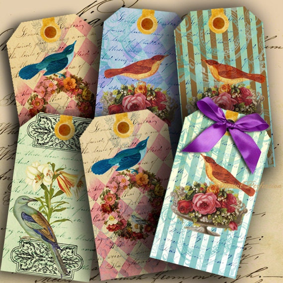 Romantic Bird Gift Tags INSTANT DOWNLOAD Digital Collage Sheet Birds and Flowers Gift Tags - DigitalPerfection digital collage sheet 655
