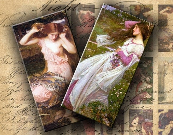 INSTANT DOWNLOAD Digital Collage Sheet Waterhouse's Paintings 1 X 2 inch - DigitalPerfection digital collage sheet 225