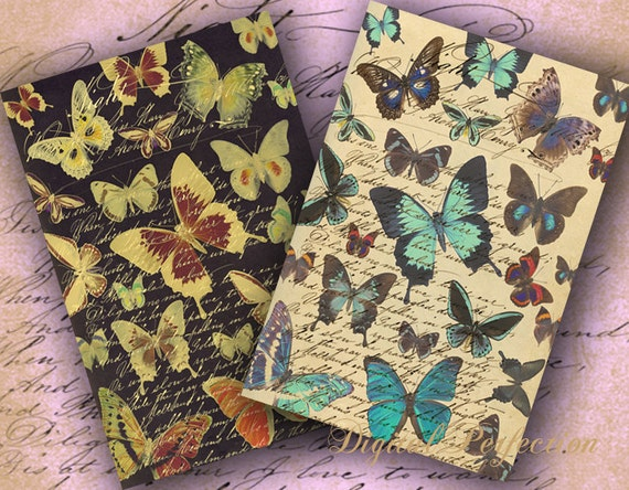 INSTANT DOWNLOAD Digital Collage Sheet Butterflies on a Vintage Letter 4 X 6 and 2 X 4 inch - DigitalPerfection digital collage sheet 942