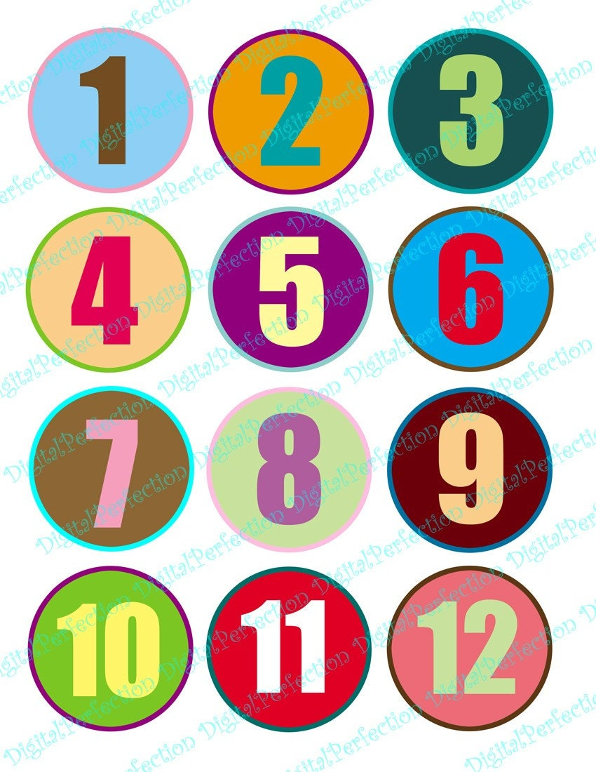Colorful Numbers 1 To 12 On 60 Mm 2 36 Inch Circles For Your