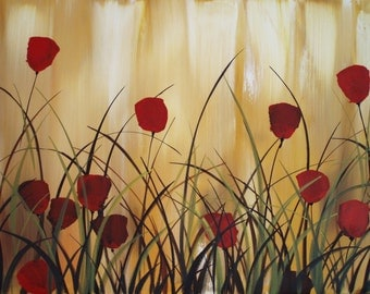 Red Floral Wall Art Painting on Canvas Large Wall Art Tulip Art Flowers Original Painting Contemporary Red Tulips Painting Large Art by DROB