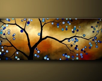 Abstract Landscape Art Painting Large Wall Art Blue Color is an Original Modern Tree Art Canvas Contemporary Whimsical Painting by DROBART
