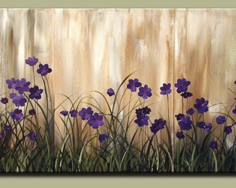 Purple Floral Abstract Floral Wall Art Painting Large Wall Art Original Canvas Lavender Flowers Large Art or Bedroom Art Made to Order DROB