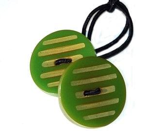 Apple Green Bakelite  Hair Accessory - Vintage Wafer Buttons, Bakelite Buttons Ponytail Holder