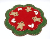 Christmas Penny Rug with Gingerbread Man and Heart Design - 11.5""