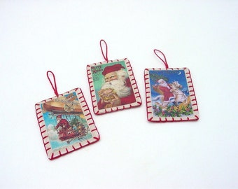 3 Mini Chirstmas Santa Vintage Postcard Image Ornaments
