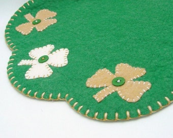St. Patrick's Day Penny Rug - Candle, Table or Tree Mat - 15 Inches