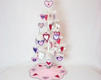 Valentine Feather Tree with Ornaments, Tree Skirt and Tree Topper (26 inch )