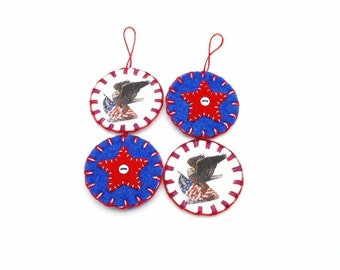 Penny Rug Style Patriotic Ornaments - Set of 4