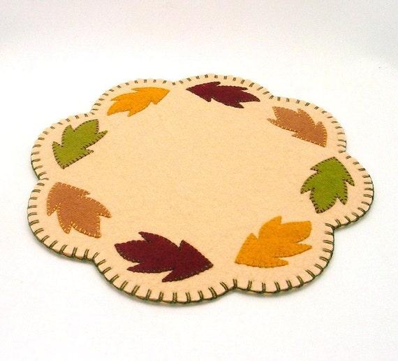 """Fall Leaf Design Penny Rug - 11.5"""""""