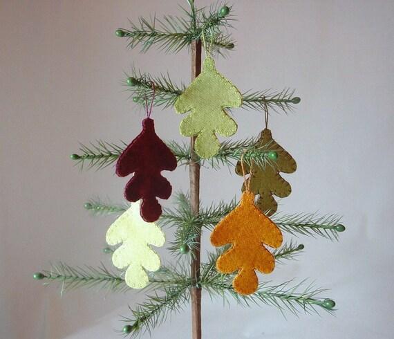 Wool Oak Leaf Penny Rug Style Fall/Thanksgiving Ornaments - Set of 5