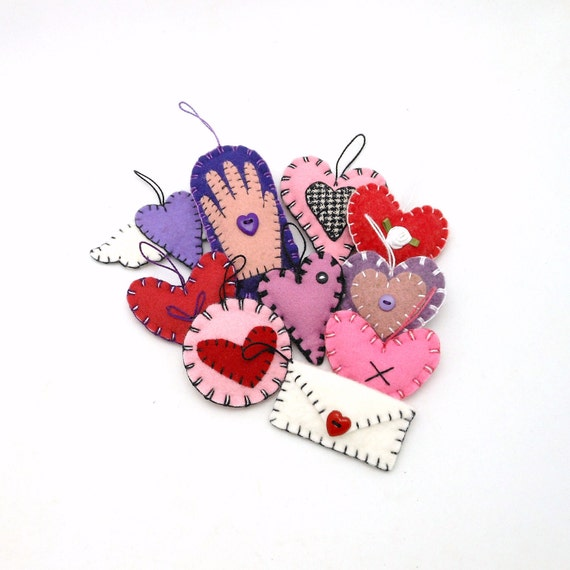 Hand Sewn Wool Felt Valentine's Day Ornaments - Set of 10