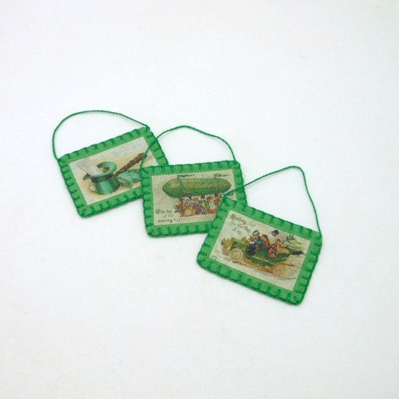 3 Mini St. Patrick's Day Vintage Postcard Image Ornaments