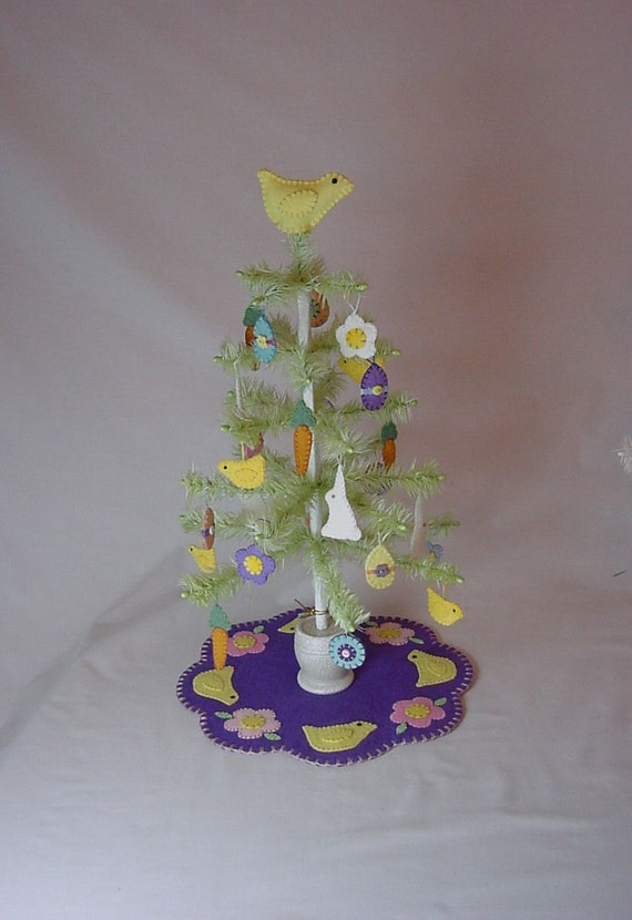 Easter Feather Tree With Penny Rug Ornaments Tree Mat By