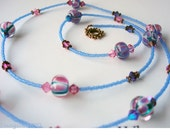 Tropical Garden - Flowers in Lampwork Glass, Swarovski Crystal Necklace