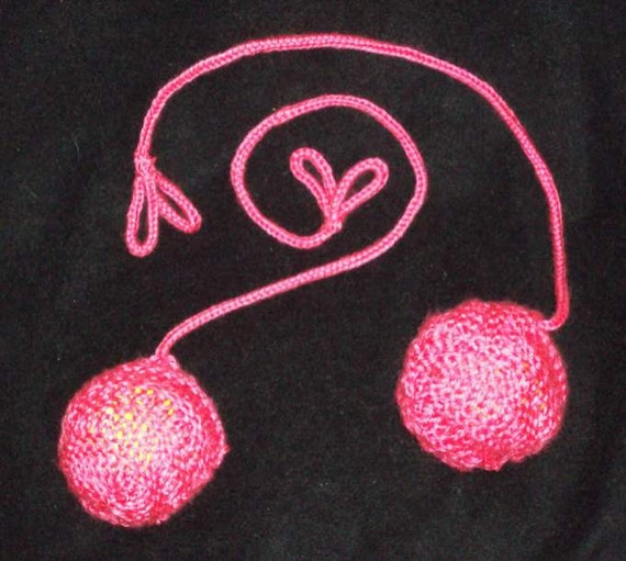 "Burning Man Flamingo Pink Hand-Knit Practice Poi with 16"" Cording"