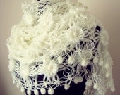 Ivory Flowered Mohair Triangle Shawl