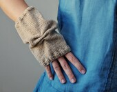 Beige Fingerless Gloves