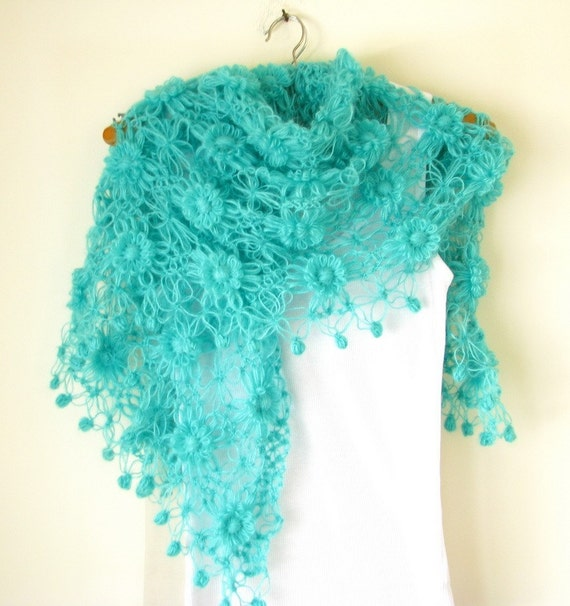 CLEARANCE SALE!!! Until September 15 ---Turquoise Green Flowered Shawl