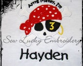 Pirate Birthday Numbers Custom Appliqued Embroidered T- Shirt  Personalized Free