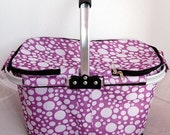 collapsible market tote embroidered with personalized name of your choice.Lavender with Polka Dots