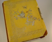 Victorian Era Yellow with Birds Celluloid Cover Photo Album Without Photos - Great for Paper Arts, Journals, Scrapbooking