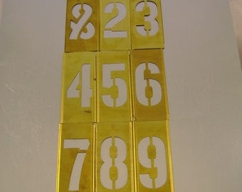 Vintage Brass Five Inch Number Stencils - Your Choice of REMAINING Numbers (Please read list below)