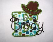 Boys Birthday Personalized Cowboy Hat Alphabet Applique Shirt Child Toddler Baby Birthday Personalized Gift  Western Rodeo