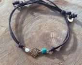 Petite Lotus Adjustable Charm Bracelet