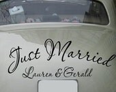 Personalized Just Married removable decal