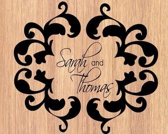 Custom Damask Monogram Decal for the Wedding Dance Floor or Wall