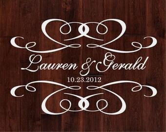 Scroll of Hearts Personalized Wedding Monogram Dance Floor Decal