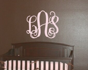Large 3 Initial Monogram Wall Decal