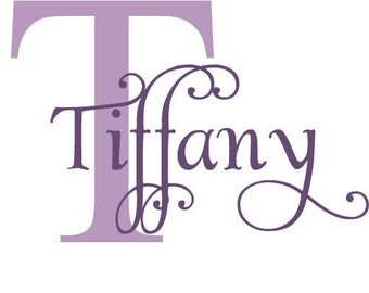 Personalized Frilly Initial and Name - vinyl wall decal