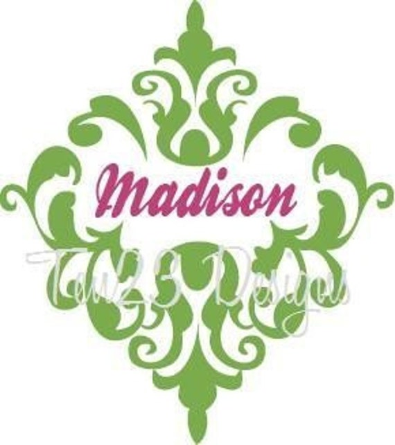 Large Personalized Damask Name - vinyl wall decal