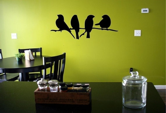 SALE - 4 Birds on a Branch Vinyl Wall Decal