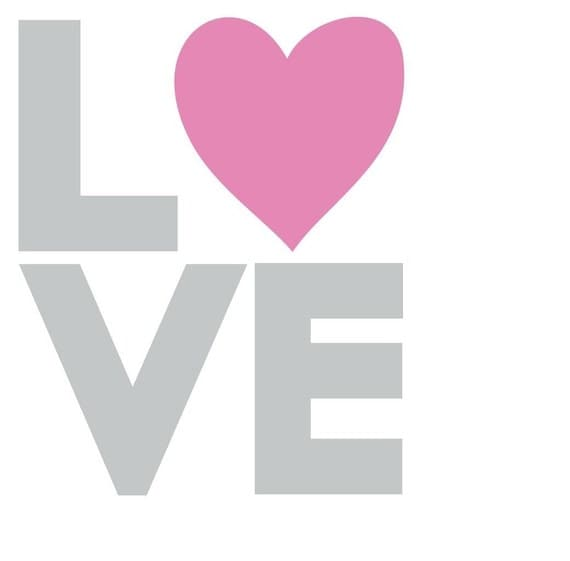 LOVE and Heart - vinyl wall decal