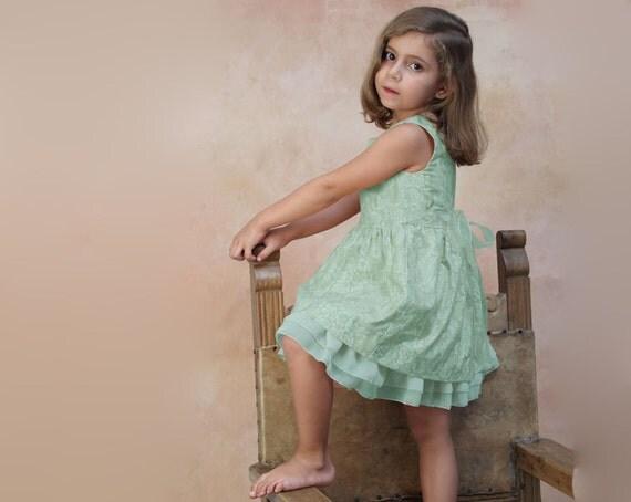 Toddler Girl dress couture mint green flower girl dress