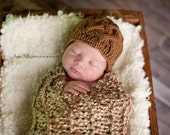 Celtic cable braid - Mocha cable hat for baby - hand knit - newborn photo prop - baby girl boy hat - taupe tan brown baby hat
