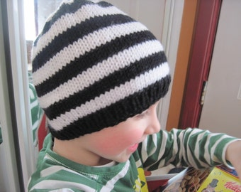 Striped beanie hat - babies - toddlers - kids - black and white - made to order - hand knit - many colour choices