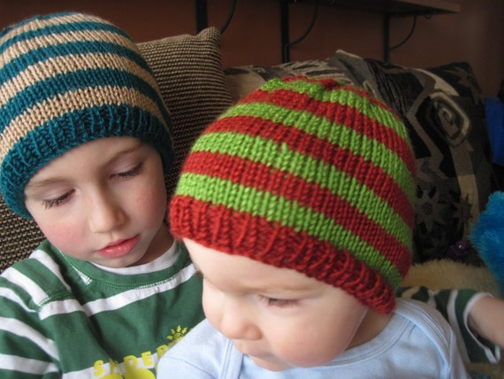 Striped beanie hat - babies - toddlers - kids - brick red and apple green - newborn photo prop - boys girls adults - hand knit
