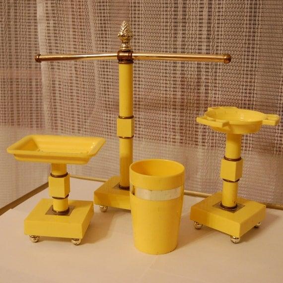 Vintage hollywood regency 1960s bathroom set in bright yellow for Bright bathroom sets