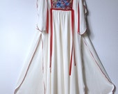Guinevere's Young Edwardian Tunic1970s Butterfly Ribbon Festival Dress oh so sweet Maxi Side Slits XS to S