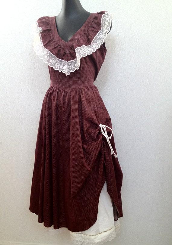 Gunne Sax  70s Summer Cotton Dress Tiny Polka Dot & Lace w Petticoat Cinch S M