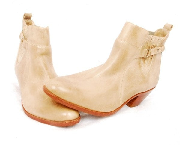Vintage Leather Cowboy Ankle Boots Paolo Fellicce 10