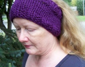 Phlox Hand Knitted Head Band, Neck Warmer, Purple, Grape, Amethyst