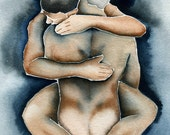 Men Hugging 11X17 Limited Edition Signed Poster Print: Same Sex Wedding Decoration Gay Art Mature LGBT Gay Christmas